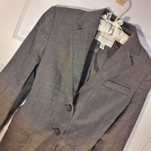 Grey Womens Wool Blazer Jacket Flap Pockets Cuff